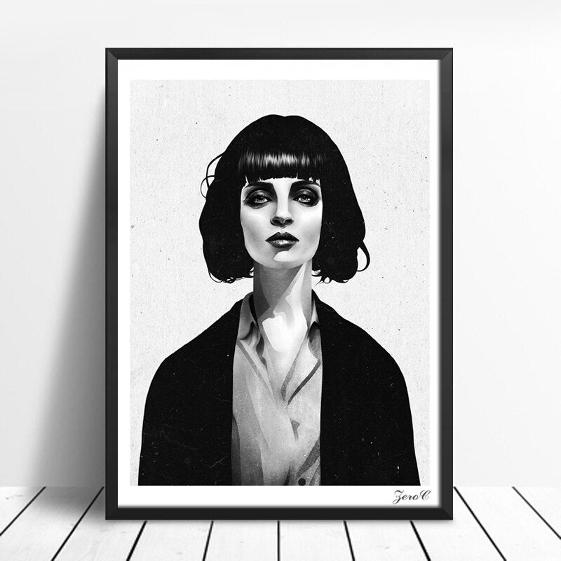 Black White Girl Printing - Wall Art-oosmdeals