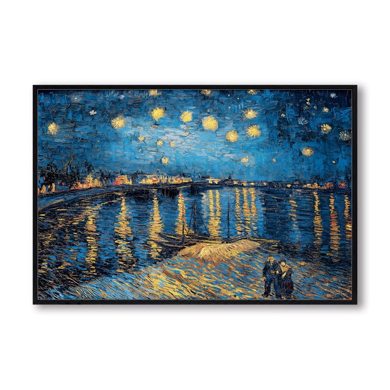 Elegant Poetry Starry Night on the Rhone River by Vincent Van Gogh Famous Artist Art Print Poster - wall art-oosmdeals