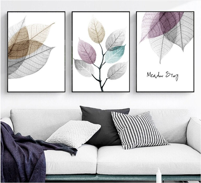 Modern Simple Small Fresh Leave Decorative Painting Modular Picture Wall Art Canvas Painting for Living Room No Framed