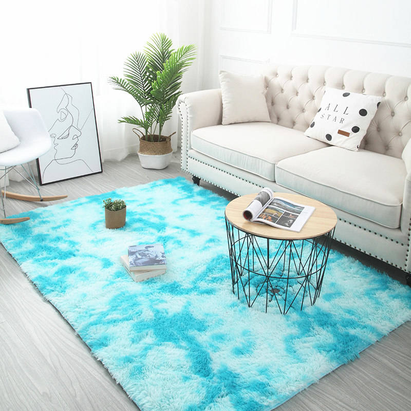 Grey Carpet Tie Dyeing Plush Soft Carpets For Living Room Bedroom Anti-slip Floor Mats - home and decor-oosmdeals