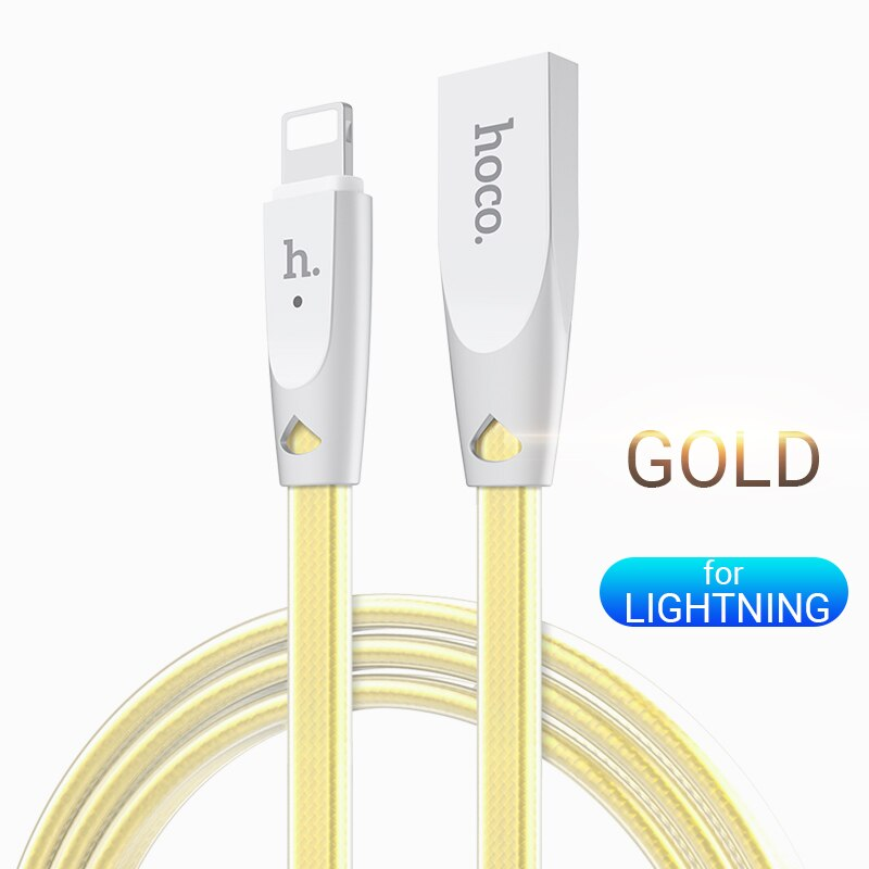 hoco cable usb a for Lightning zinc connector indicator fast charging 2.4a data sync wire cord charger - home decor Online store-oosmdeals