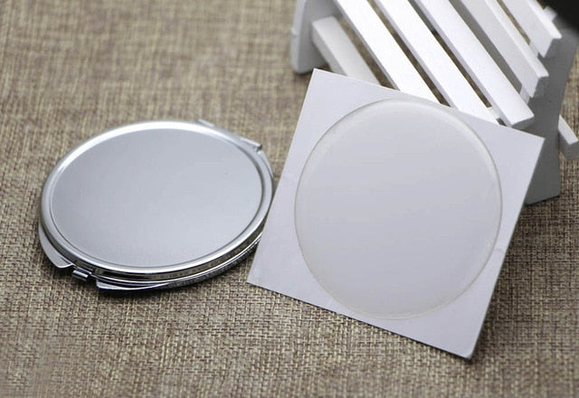 72mm DIY Mirror Compact Compact Mirror Blank Pocket Foldable Mirror With Epoxy Sticker 500 pieces/lot - home and decor