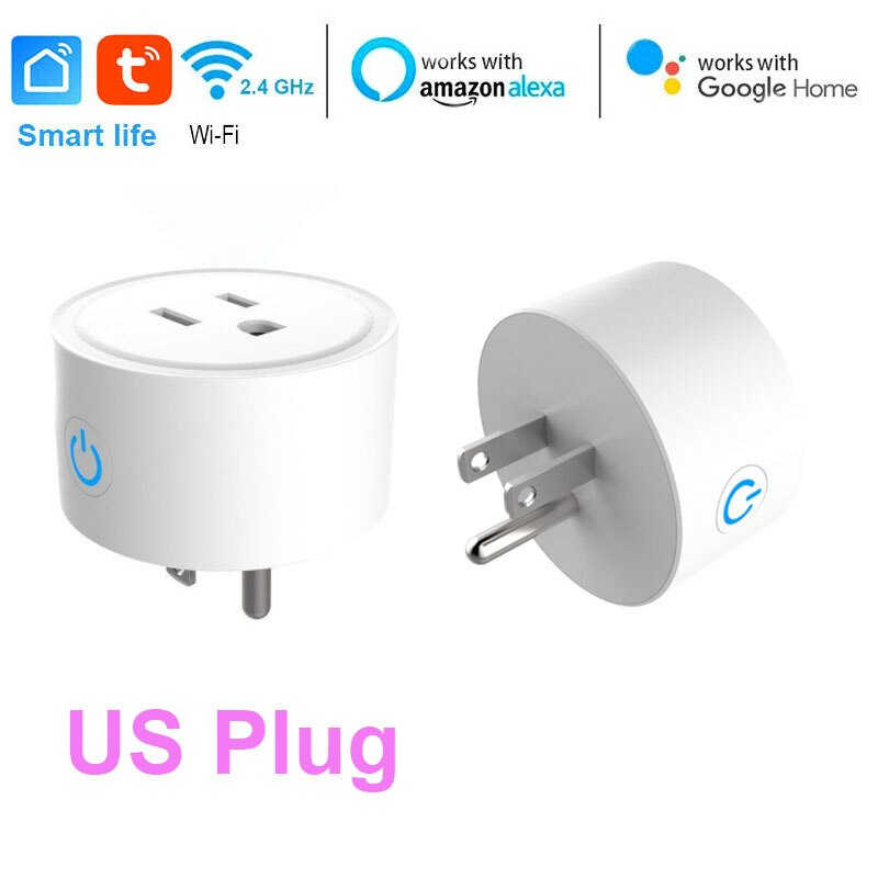 US/EU/UK Smart Mini Socket Plug WiFi Wireless Remote Socket Adaptor with Timer on / off Compatible with Alexa Google Home Voice-oosmdeals