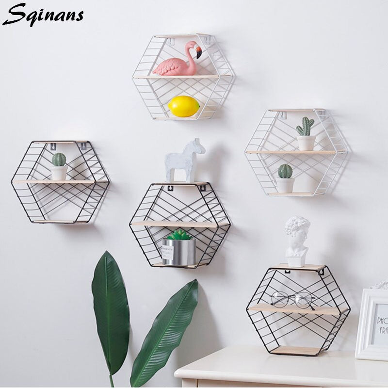 Hexagon Shelf Metal Wall Decor Floating Shelf Modern Wall Hanging Nordic Shelf Geometric Figure - wall art