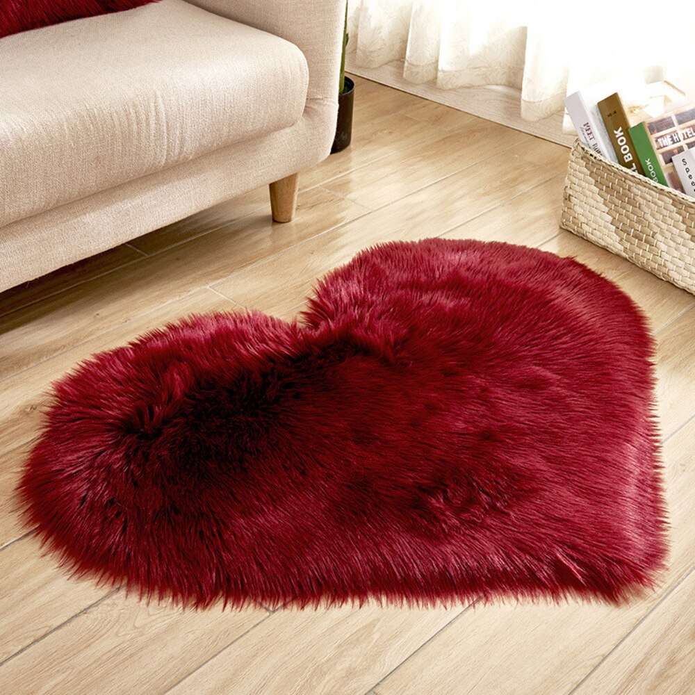 Love Heart Rugs Artificial Wool Hairy Carpet Faux Floor Mat Fur Plain Fluffy Area Rug - home and decor-oosmdeals