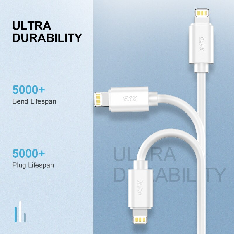 ESK Lightning to USB Cable MFi Certified Phone Cable for iPhone X Xs Max XR 8 7 6 ipad 2.4A Fast Charging USB Charger Data Cord