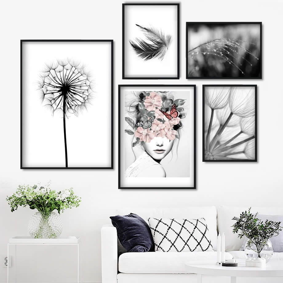 Reed Dandelion Feather Girl Wall Art Canvas Painting Nordic Posters And Prints Black White Wall Pictures For Living Room Decor