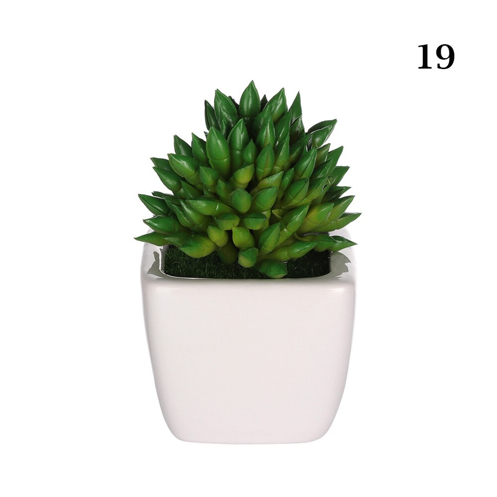 1PC Mini Artificial Succulents Plants Bonsai Potted Placed Green Fake - home and decor