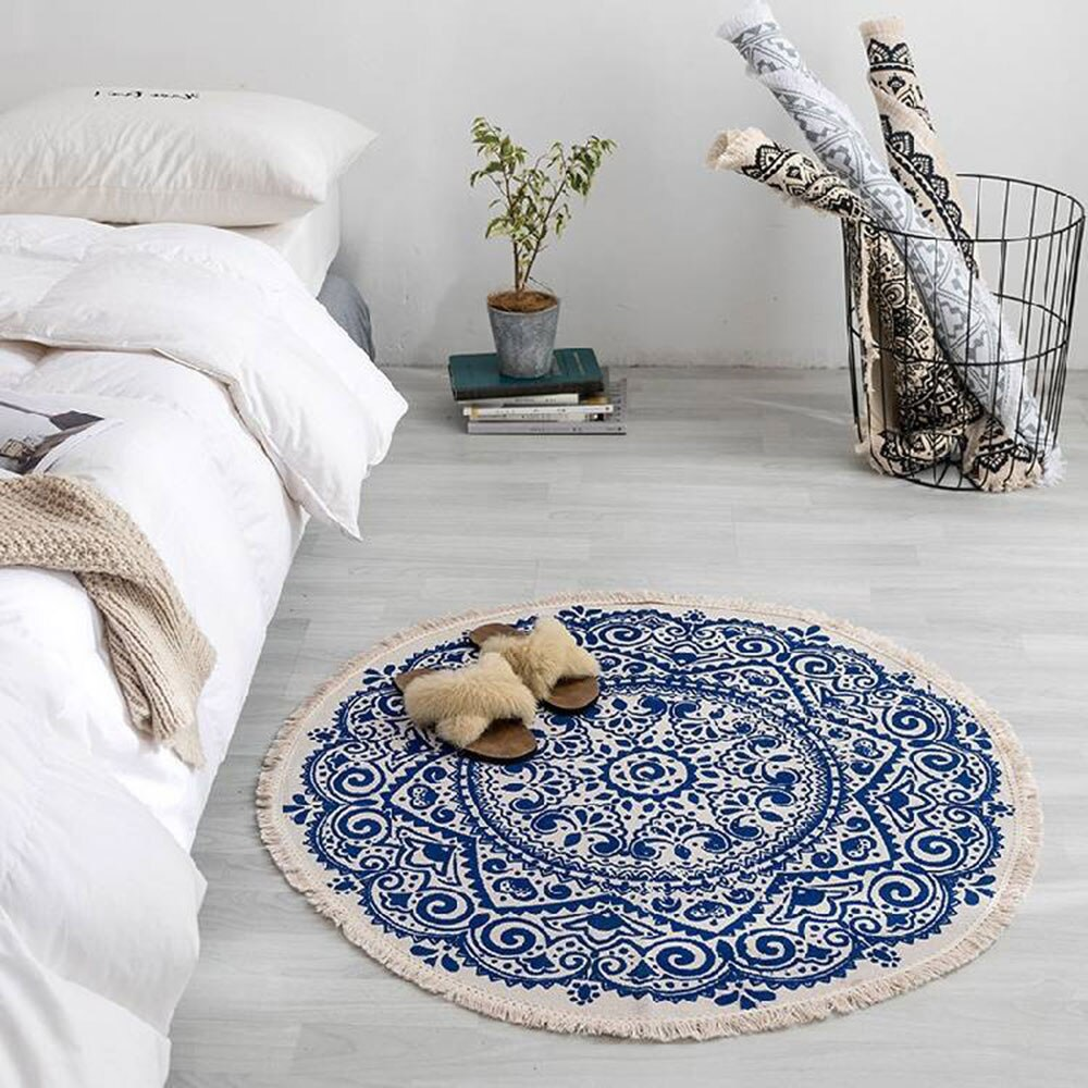 Modern bedroom tassel cotton style round carpet living room decoration - home and decor-oosmdeals
