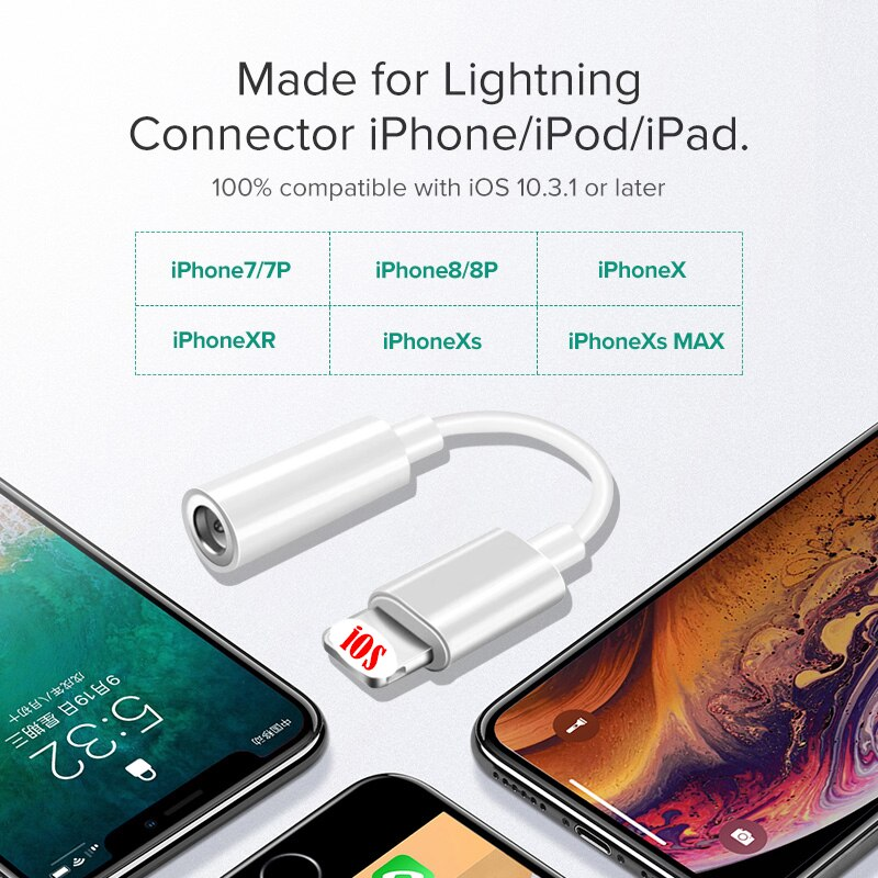 Adapter for Lightning to 3.5mm Jack AUX Cable for iPhone 11 Pro 7 8 plus XR XS MAX For IOS 13 3.5mm Headphone Audio Splitter