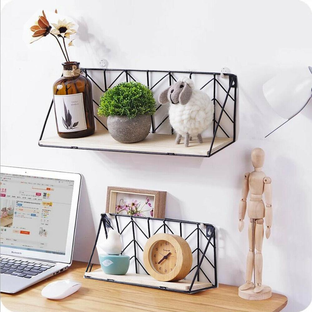 Wall Shelf Wooden Floating Shelving Home Decor Storage Mounted Rack Holder Metal - wall art
