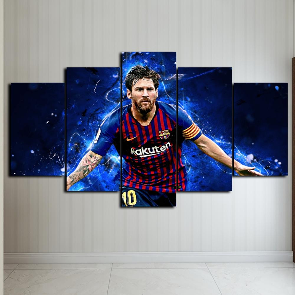 Creative 5 Pieces Messi Flag Sports Wall Posters Football Canvas Paintings Art Prints Pictures Boys Bedroom Decor