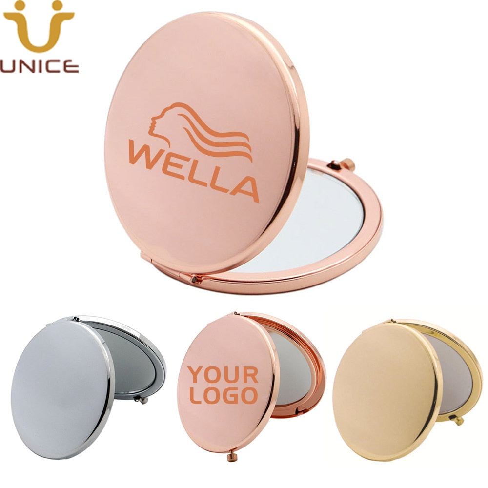 100pcs/lot Custom Laser LOGO Travel Makeup Mirror Mini Pocket Mirror Chrome / Gold / Rose Gold Cosmetic Mirrors for Purse - home and decor