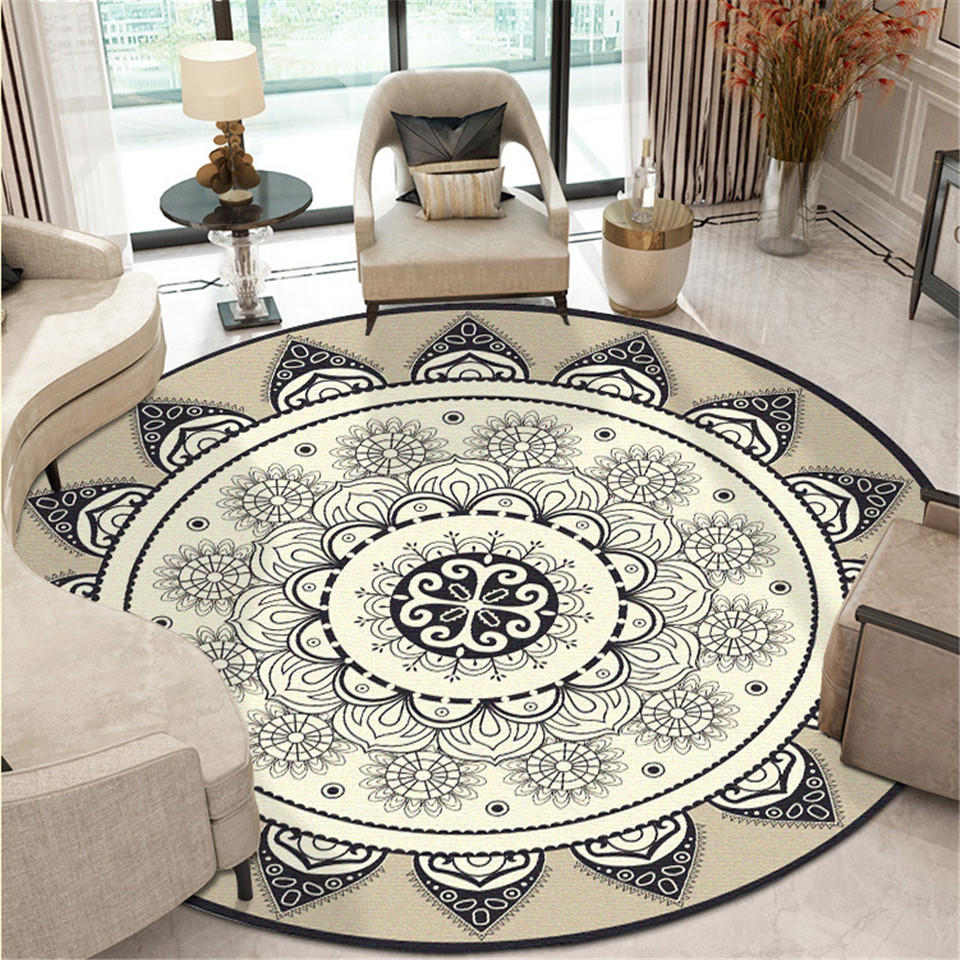 Bohemia Ethnic Mandala Round Floor Carpet Soft  Classic  Geometric Flower Sofa Rug Europe Retro Large Area Rug For Living Room - home and decor