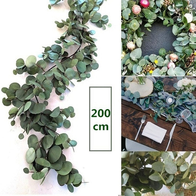 Wedding Decoration Artificial Green Eucalyptus Vinesa - home and decor