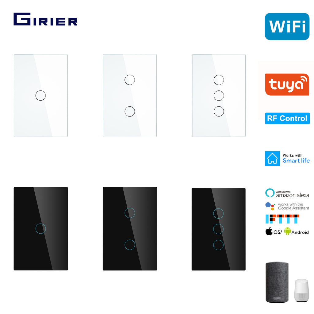 Smart Wifi Touch Switch No Neutral Wire Required Smart Home RF433 Tuya App Wireless Remote - home decor Online store