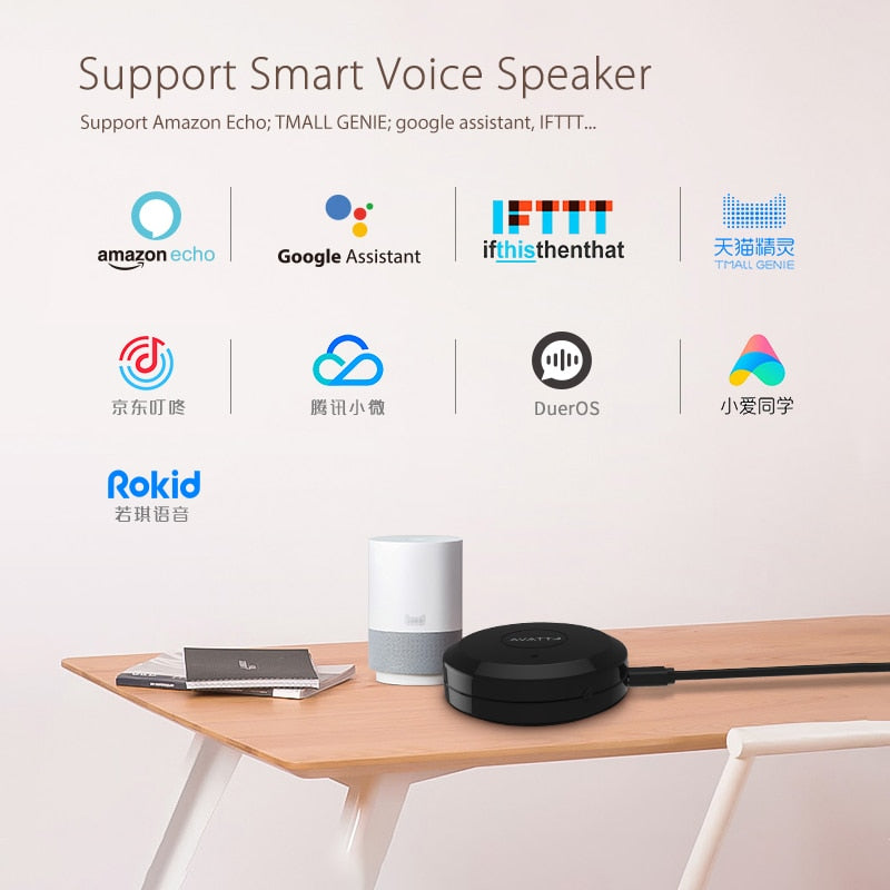 AVATTO S07 Tuya Universal Smart 2.4G WiFi IR Remote Control with Alexa,Google Home Voice Control Infrared Smart Home Automation