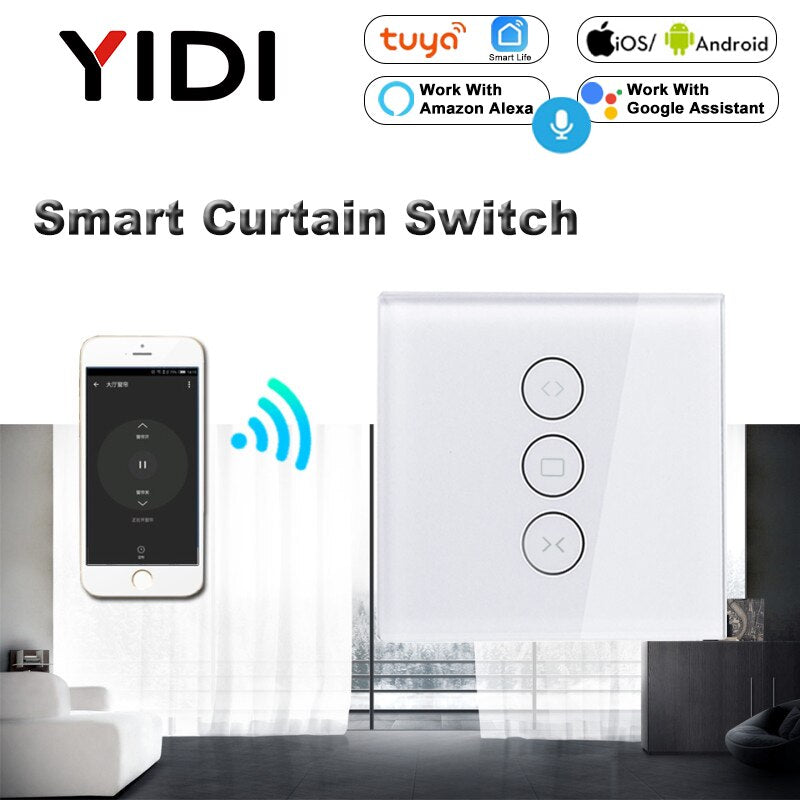 WiFi Electric Smart Curtain Switch Tuya APP Voice Remote Control Touch Switch - home decor Online store