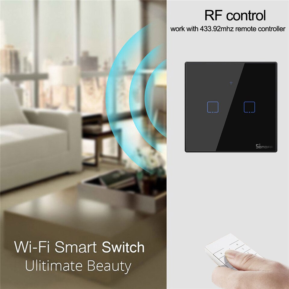 SONOFF T3 UK 1/2/3 Gang TX Smart Wifi Wall timer Switch With Border Smart Home 433 RF/Voice/APP/Touch Control Work With Alexa