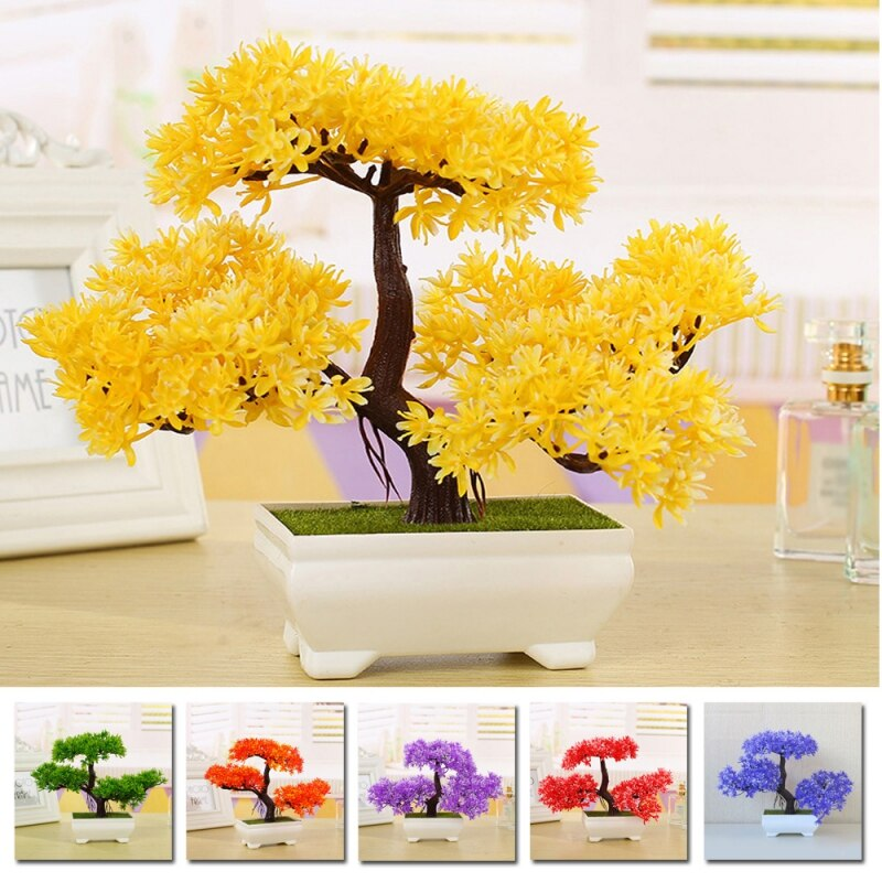 Multicolor Artificial Plant Small Tree Potted Plants Fake Bonsai Guest-Greeting Pine Tree Home Ornament Office Hotel Decoration