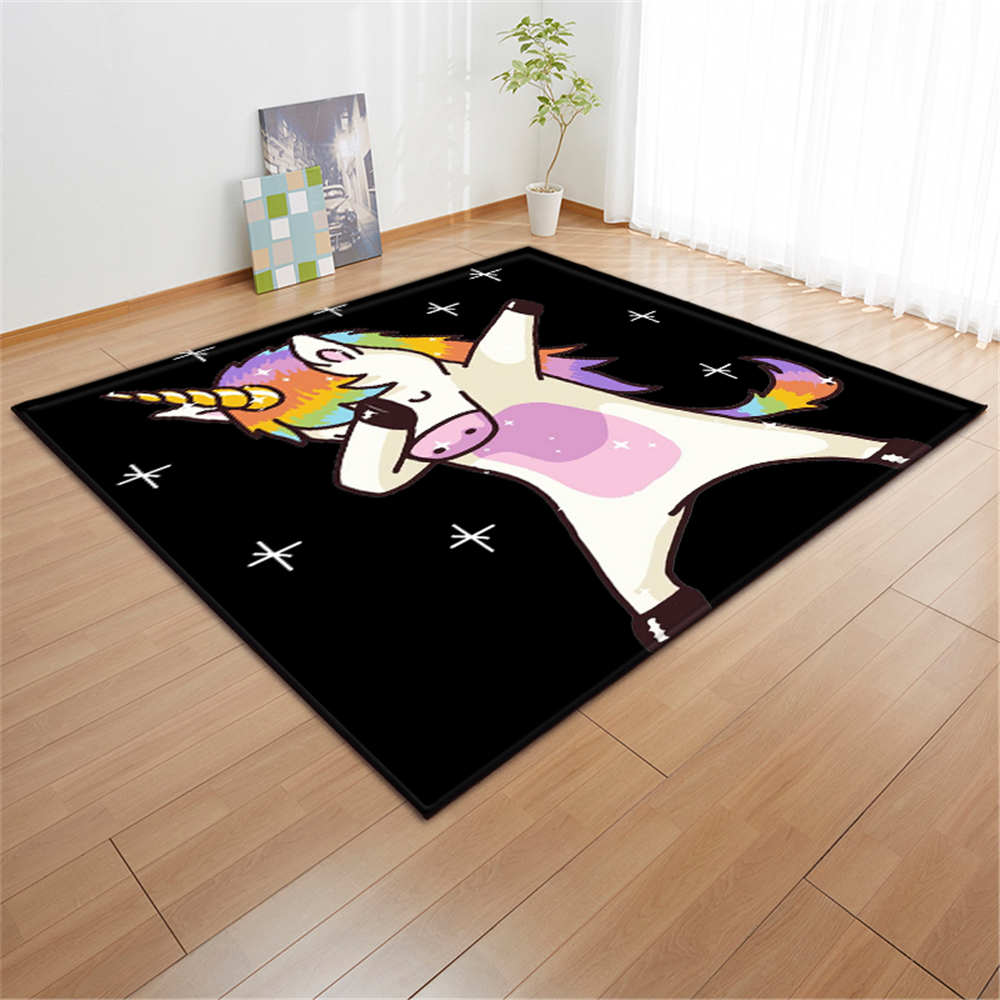 Cartoon Pink Unicorn Carpets Anti-slip Flannel Carpets Kids Play Mat Girls Room - home and decor-oosmdeals