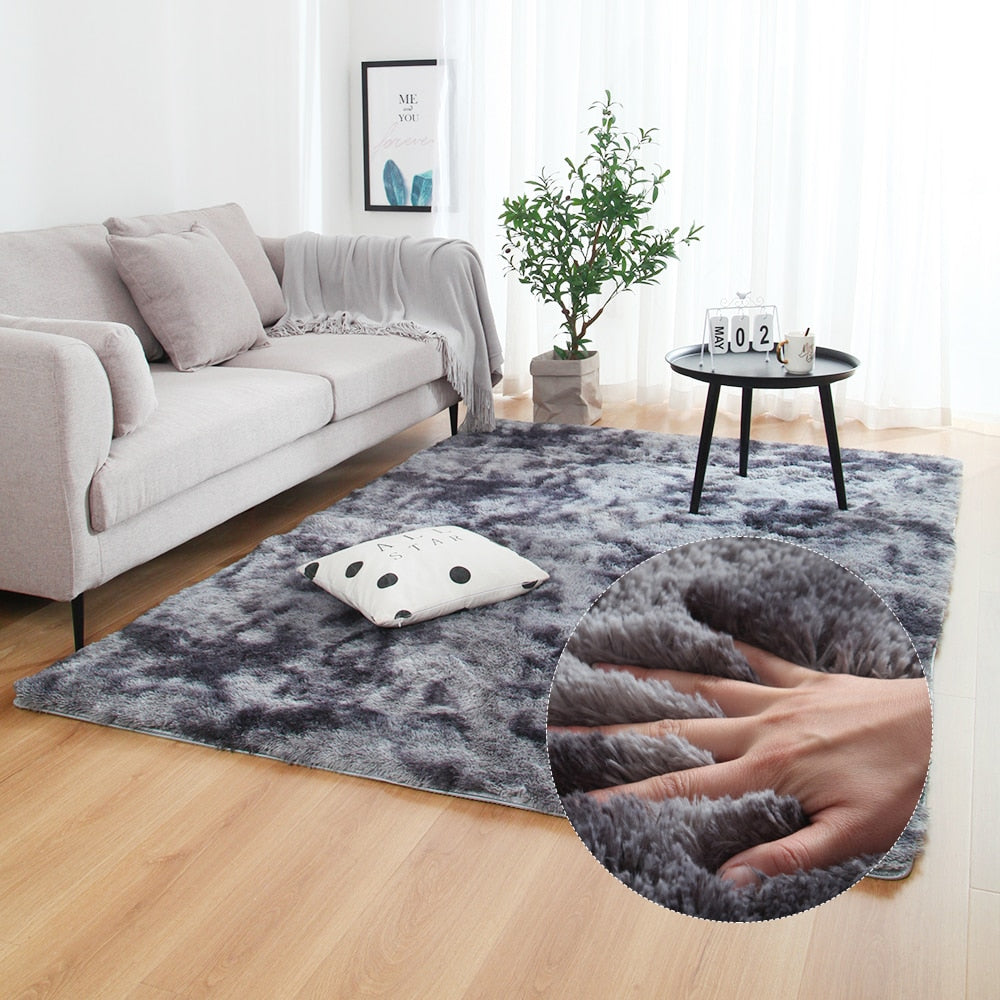 Anti-slip Floor Mats Grey Carpet Tie Dyeing Plush Soft Carpets Bedroom Water Absorption Carpet Rugs For Living Room Bedroom