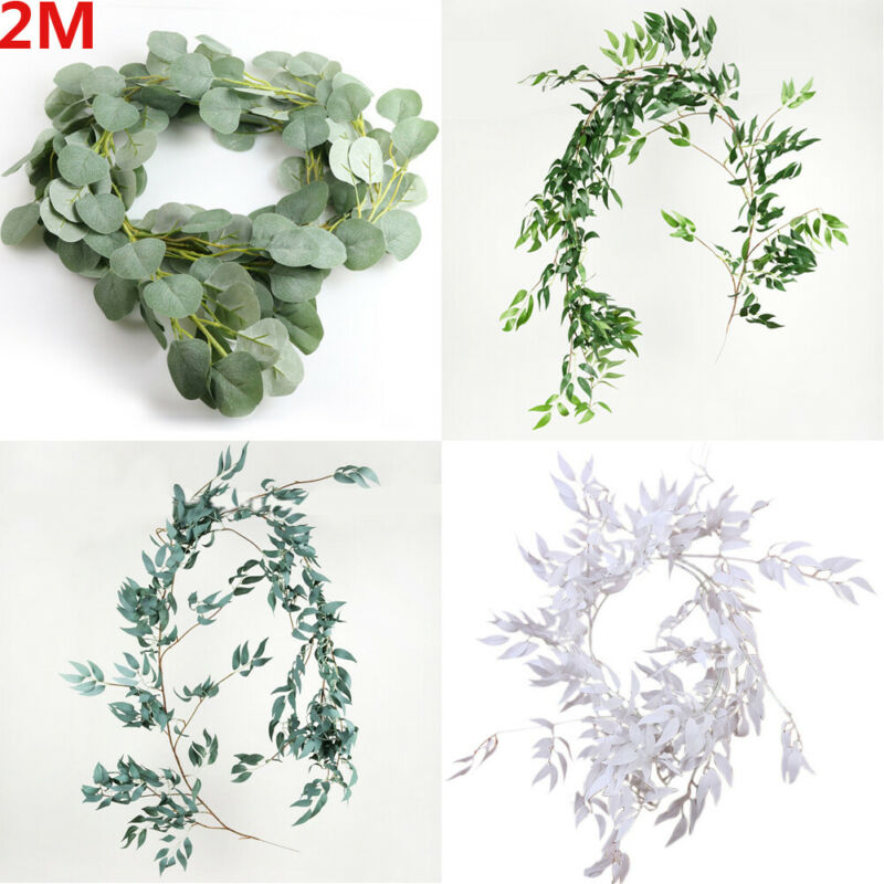 Artificial Fake Eucalyptus Garland Long Leaf Plants Greenery Foliage Home Decor - home and decor