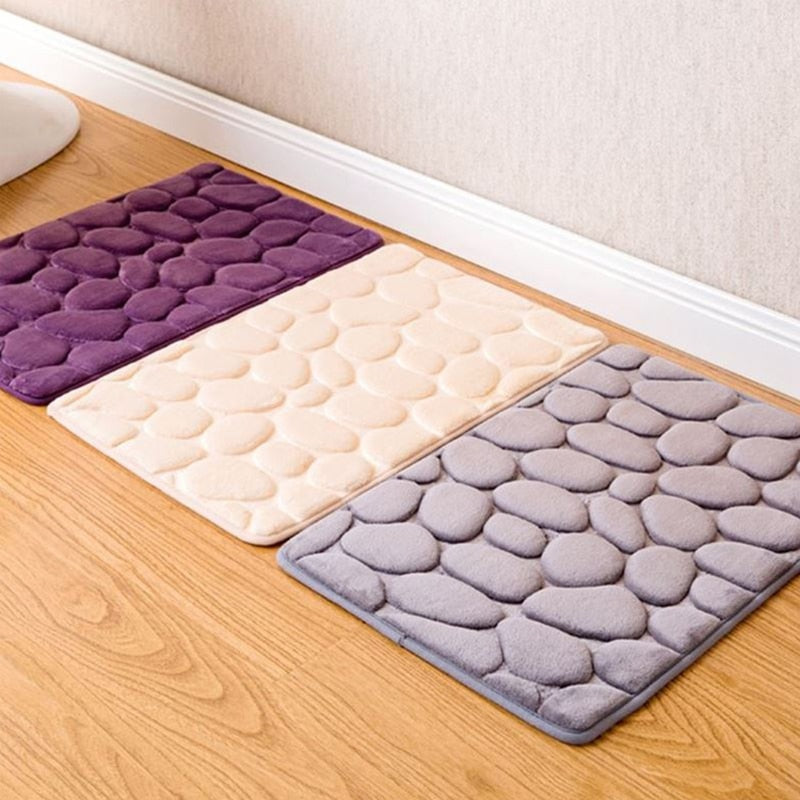 40*60CM Coral Fleece Bathroom Memory Foam Rug Kit Toilet Pattern Bath Non-slip Mats Floor Carpet Set Mattress for Bathroom Decor