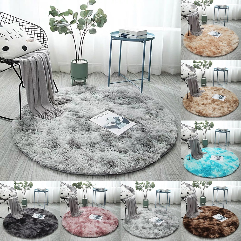Gradient Solid Carpet Thicker Rugs Non-slip Round Mat Bathroom Area rug for living room - home and decor
