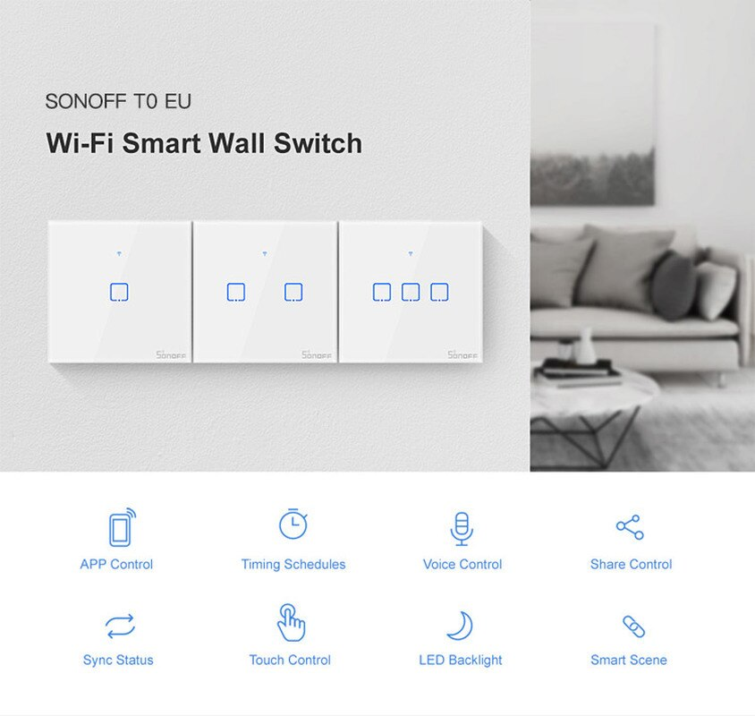 SONOFF T0US/EU TX Wifi Smart Wall Light Switch Timer 1/2/3 Gang Support Voice/APP/Touch Control Works With Alexa Google Home