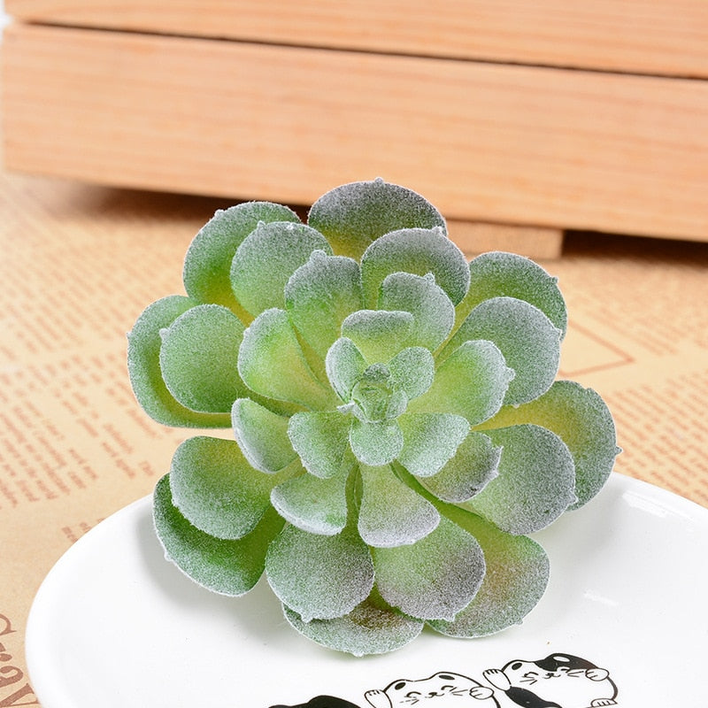 12pcs/set Artificial Succulents Fake Faux Flowers Mini PVC Simulated Floral Plants Craft Home Office Decor