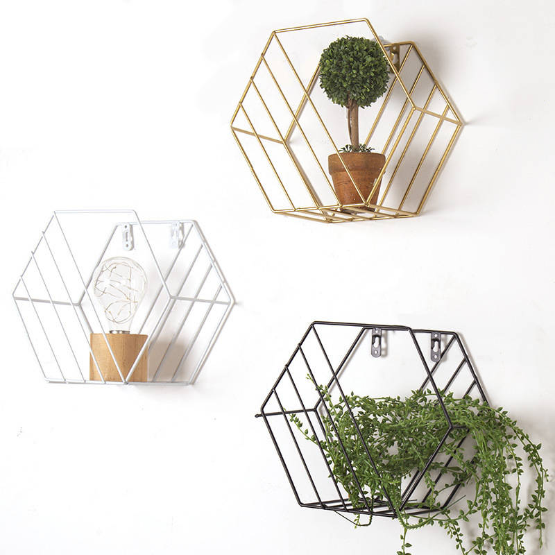 Iron Metal Grid Wall Decor Hexagon Shelf Wall Hanging Floating Shelves Geometric Figure - wall art