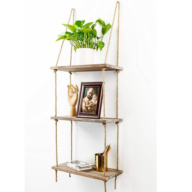 Tier Rustic Wooden Hanging Rope | Shelf-Handmade Solid Wood Floating Shelves | Home decor trend 2020-oosmdeals