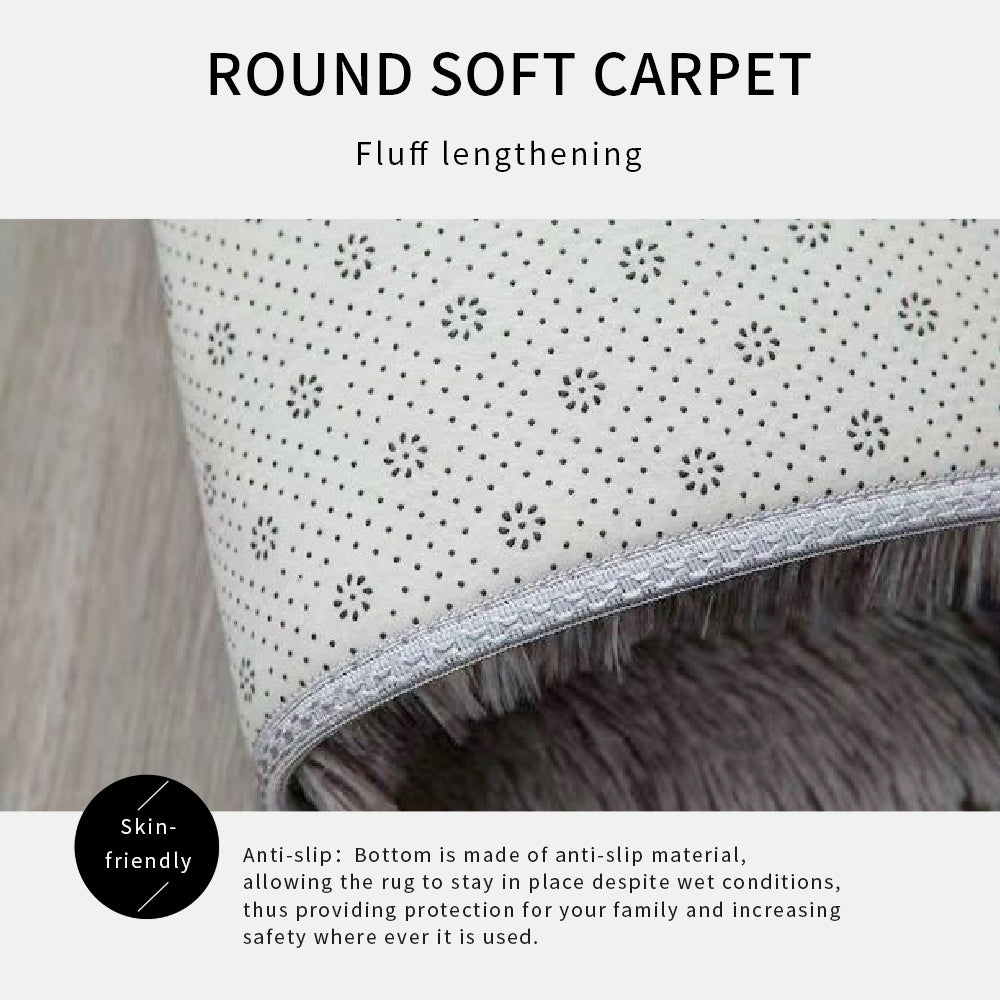 Gradient Solid Carpet Thicker Rugs Non-slip Round Mat Bathroom Area rug for living room Soft Fluffy Child Bedroom Mats 80/100cm