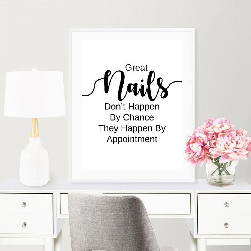 Nail Salon Quotes Makeup Wall Art Posters and Prints Nail Tech Artist Gift Fashion Art Picture Canvas Painting Nail Beauty Decor