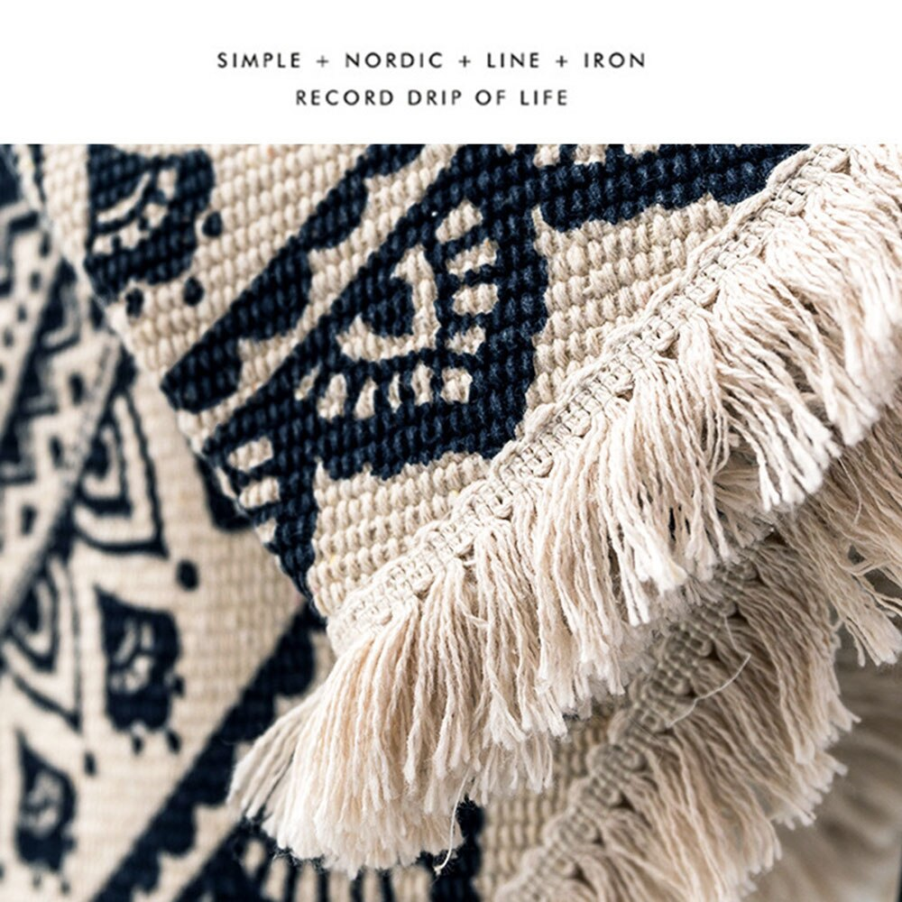 Modern bedroom tassel cotton style round carpet living room decoration hand-woven national classic tapestry children sofa mat