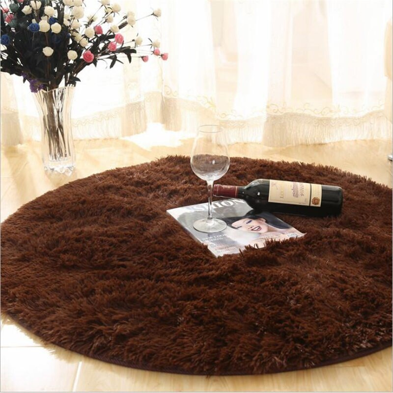 Fluffy Round Rug Carpets for Living Room Decor Faux Fur Rugs Kids Room - home and decor-oosmdeals