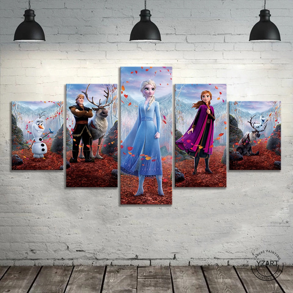 5pcs HD Cartoon Wall Picture Frozen 2 Cartoon Movie Poster Canvas Paintings Wall Art Home Decor
