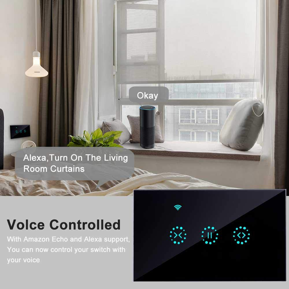 Wi-Fi Smart Curtain Switch work with Alexa/Google Home Remote Control Suitable for Garage Doors Electric Doors Rolling Shutters