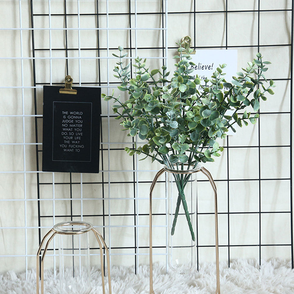 1 Pcs Nordic Artificial Plant INS Eucalyptus Money Leaf With Grass Manufacturers Home Decoration Wedding Plant Wall Fake Flower