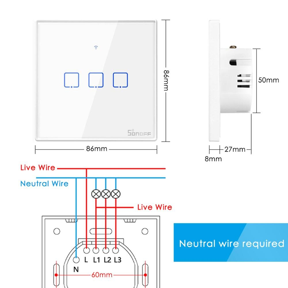 Sonoff T1 T2 EU Smart Touch Switch, Ewelink APP / 433 RF Remote Control, Work with Alexa Google Home Smart Home Light Switch