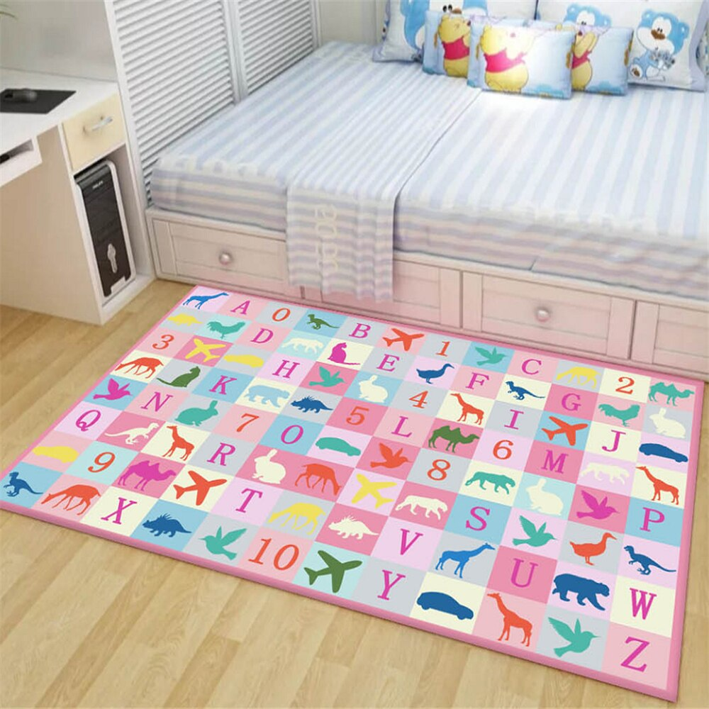 Cartoon Dinosaur Kids Bedroom Floor Mat Soft Baby Play Crawling Area Rug Children Game Mat Bedside - home and decor-oosmdeals