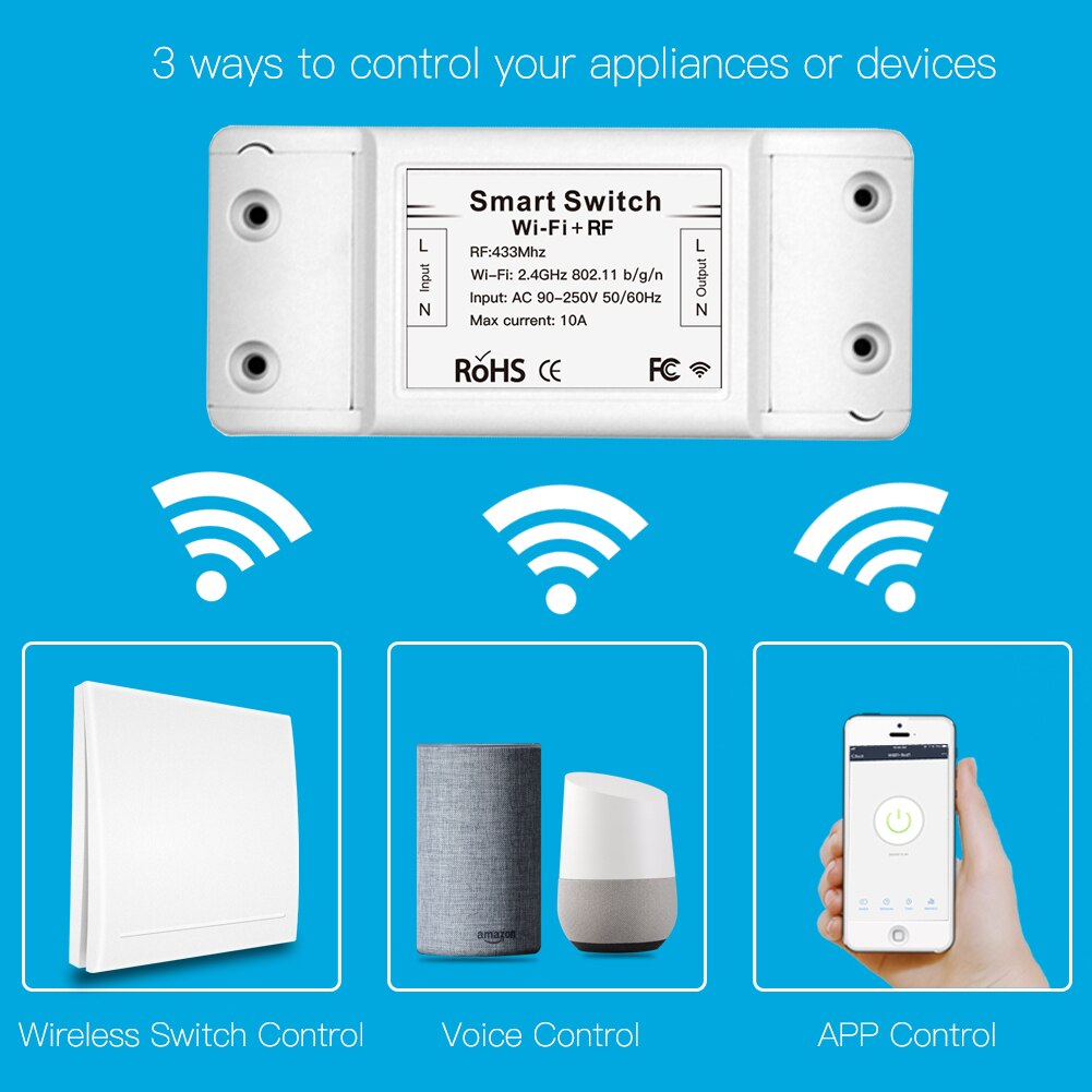 RF433 110V 220V Receiver Smart Home Wifi Wireless Remote Control Smart Switch,Smart Life/Tuya APP,Works with Alexa Google Home
