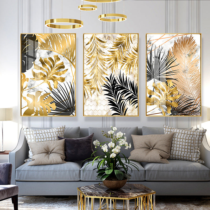 Nordic Style Light Luxury Simplicity Golden Leaves Canvas Wall Painting - wall art