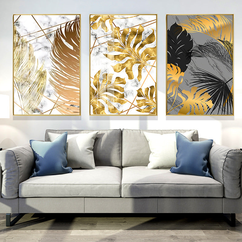 Nordic Style Light Luxury Simplicity Golden Leaves Canvas Wall Painting Arts