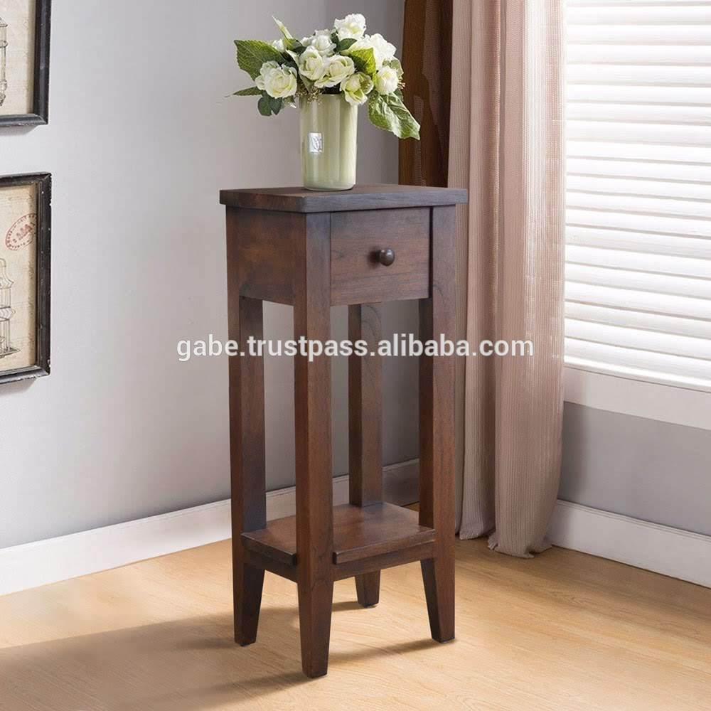 Accent table 1 drawer Solid teak Wood , Hand made - home and decor