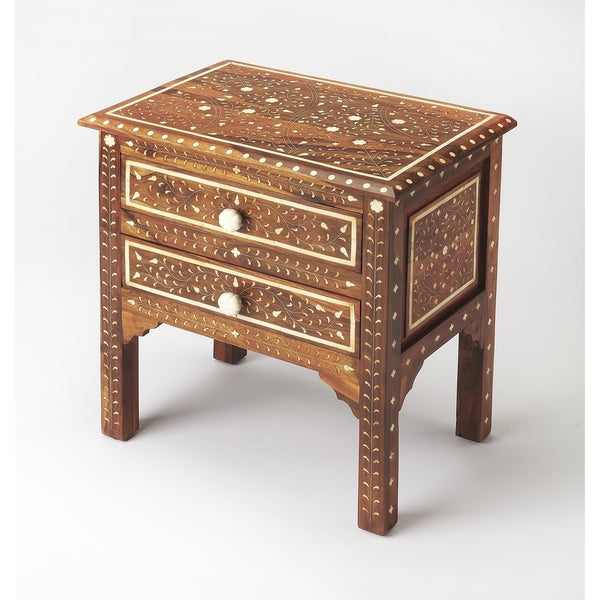 Wood & Bone Inlay Accent Chest