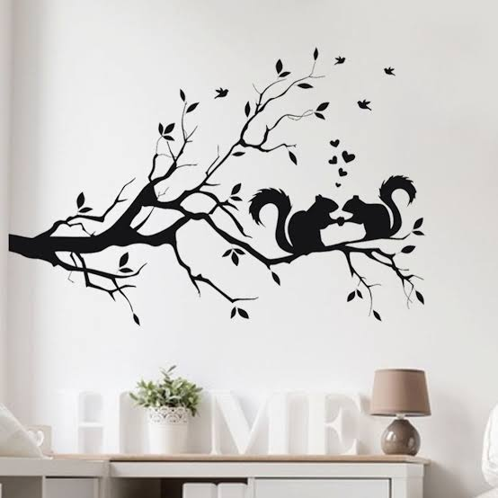 Hot Sale Squirrel On Long Tree Branch Wall Sticker Animals Cats 3D Art Decal Kids Room - wall art