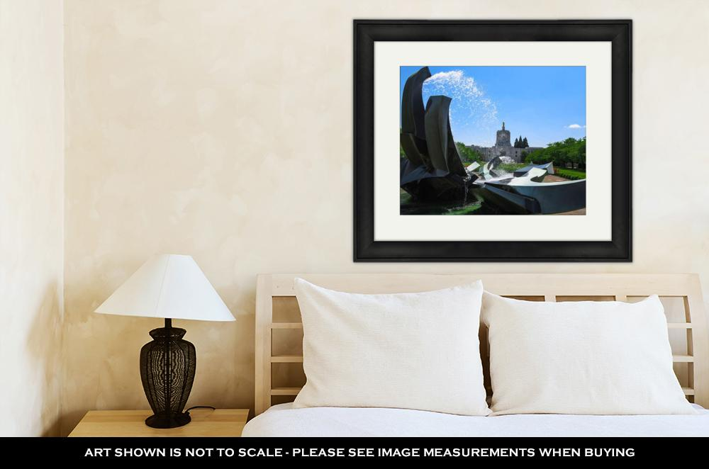Framed, Oregon Building & Water Fountain - wall art-oosmdeals