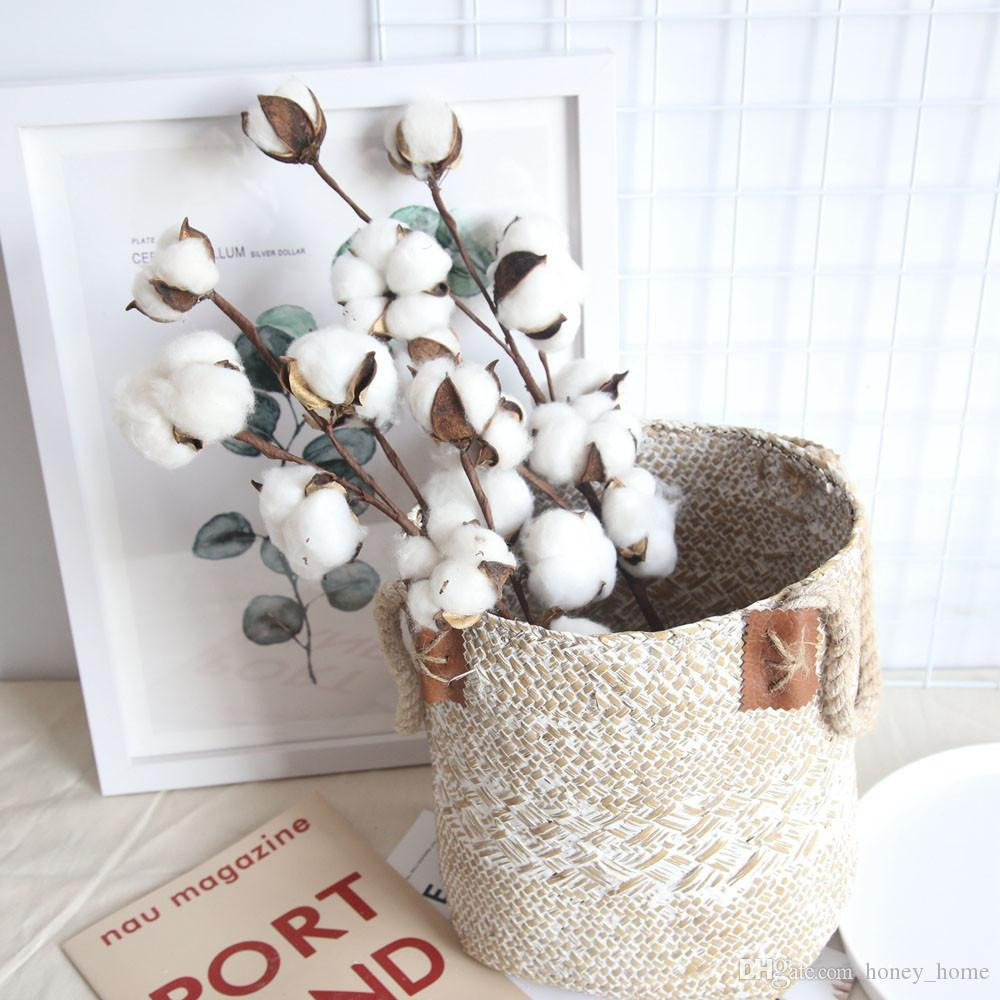 Naturally Dried Cotton Stems Farmhouse Artificial Flower Filler Floral Decor Fake Cotton Flower - home and decor